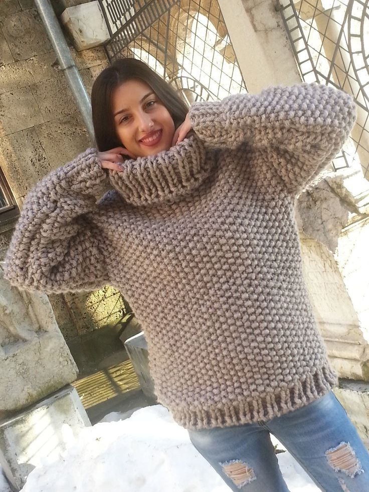 Hand Knitted WOOL no Mohair Sweater New Thick Jumper chunky Pullover L,XL BEIGE | eBay