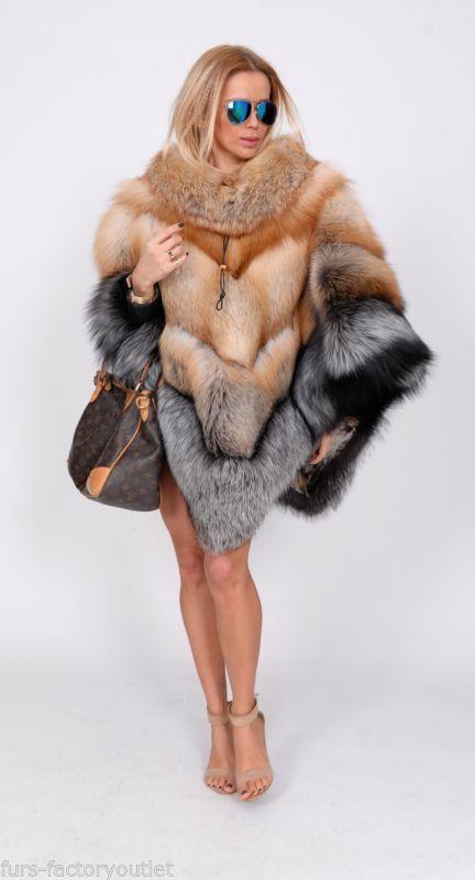 NEW MULTI COLOR SAGA FOX FUR PONCHO CLAS OF SABLE MINK CHINCHILLA COAT FIRE GOLD
