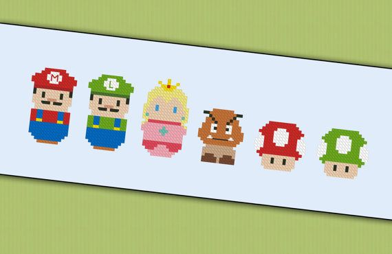 Super Mario chibi  PDF  cross stitch pattern door cloudsfactory, $4.00