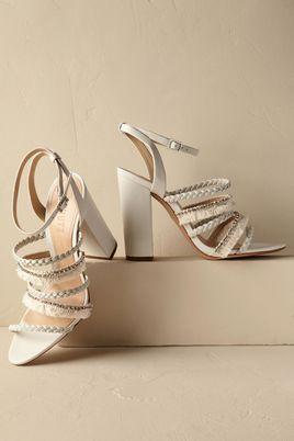 White strappy BHDLN Bridal Heels