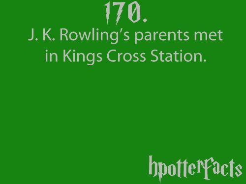 J.K. Rowling's parents met in Kings Cross Station.....awww.....