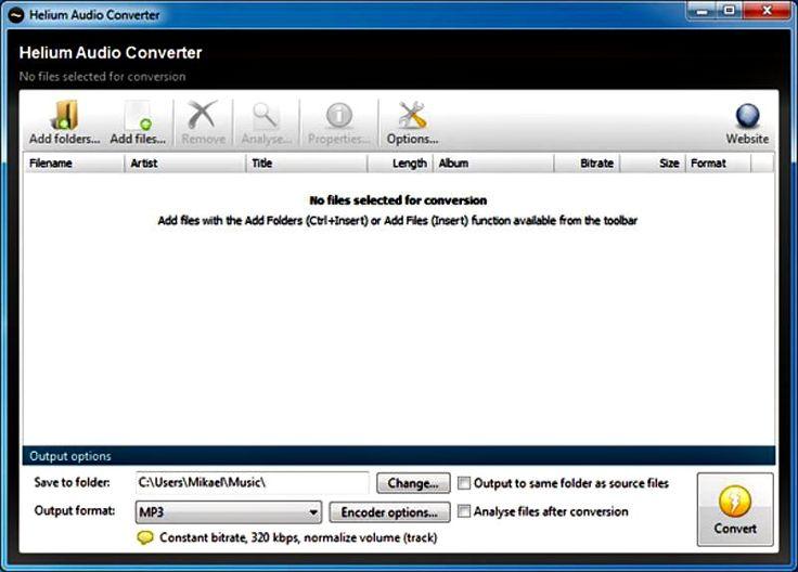 Helium Audio Converter es un software gratuito para Windows con el que podemos convertir fácilmente entre los formatos de audio más populares.