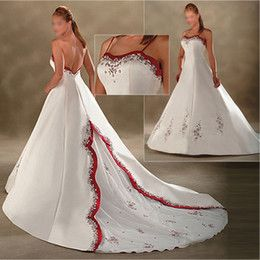 Buy Chapel Wedding Dresses With Red Accents Online from Low Cost ...