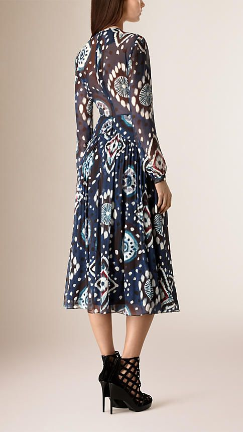 Ink Tie-dye Print Silk Crepe de Chine Dress - Image 2
