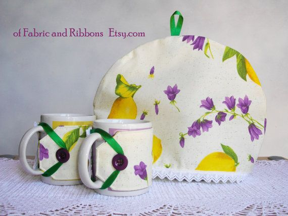 Lemons Tea Cosy and Cup Cozies. Handmade tea cosy and cup cozies, Cotton fabric…