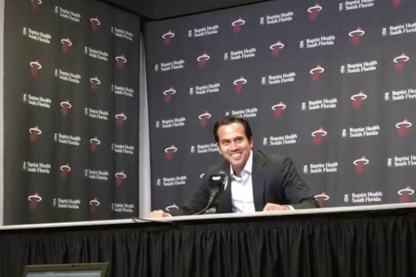 Miami Heat coach Erik Spoelstra's first words to the media Wednesday night were to confirm his wife's pregnancy.