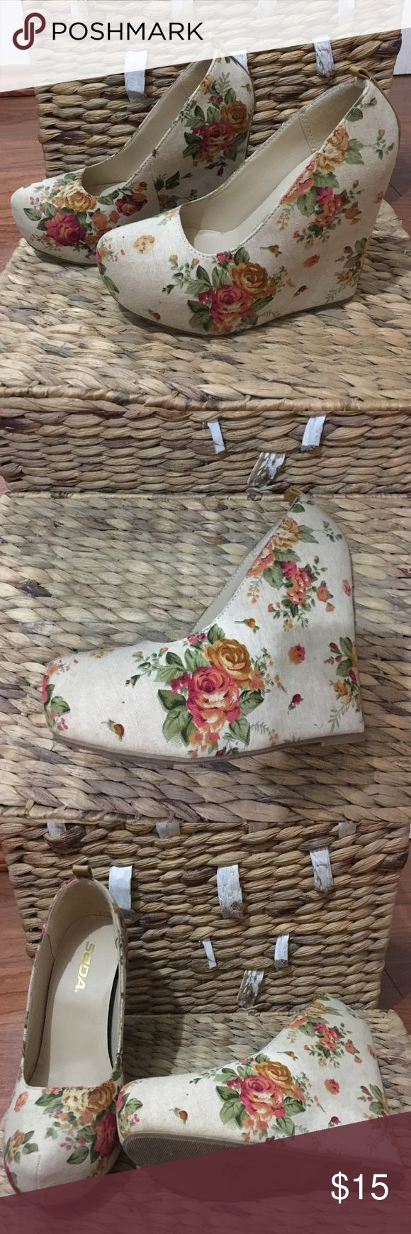 Floral Wedges Great steal for spring and summer ! Floral wedges worn once! Same day shipping! Shoes Wedges