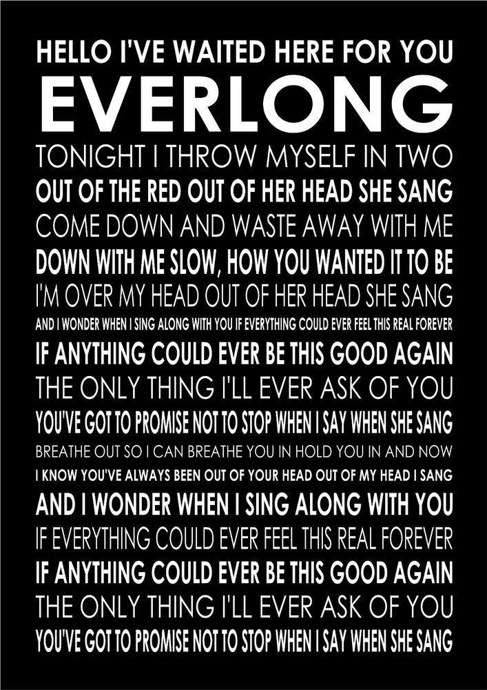 Everlong Foo Fighters Poster Canvas Wall Art Typography Song Lyrics Lyric Verse