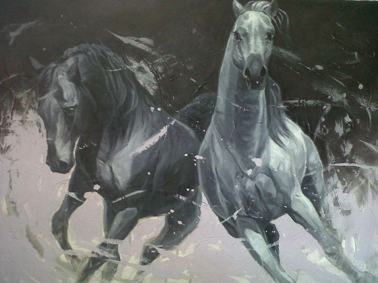 """Two Running Horses"" Original Oil on Canvas by Yasiel Palomino Pérez 57"" x 45"" SOLD"