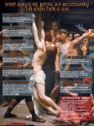 Nine Ways of Being An Accessory to Another's Sin (Faith Explained) Poster - Catholic to the Max - Online Catholic Store