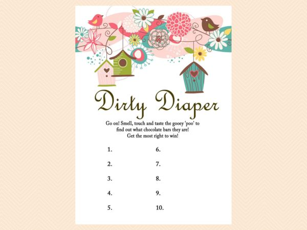 dirty diaper baby shower games printable game pack bird baby shower