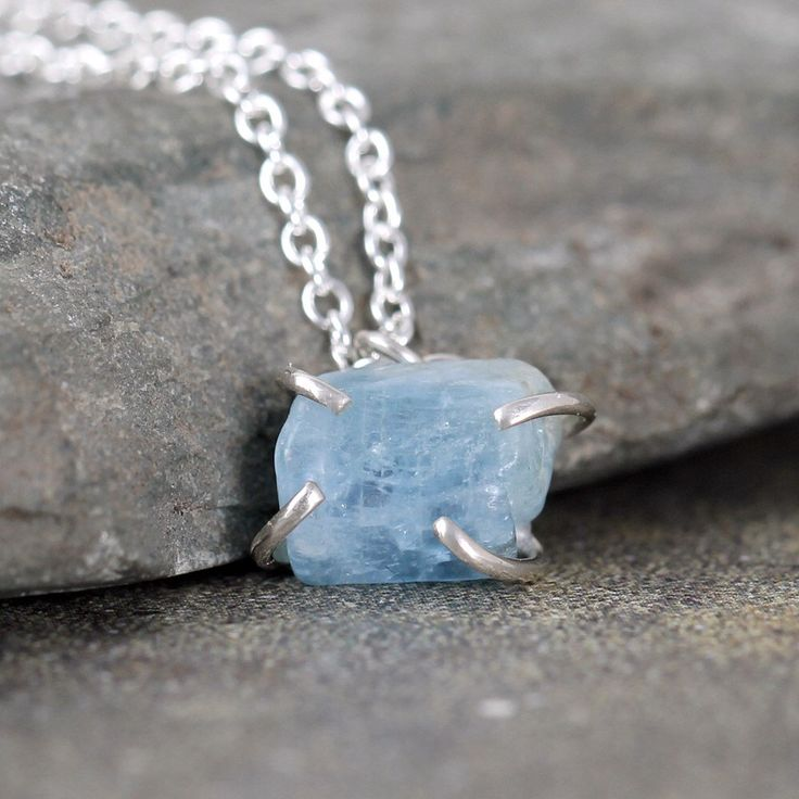 Raw Aquamarine Pendant Necklace - Light Blue Aquamarine - Sterling Silver Necklace - Rough Uncut Gemstones - March Birthstone Blue Gemstone by ASecondTime on Etsy https://www.etsy.com/listing/214550823/raw-aquamarine-pendant-necklace-light