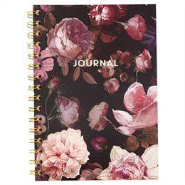 Cahier A5 3 sujets à reliure spirale–Motif floral automnal