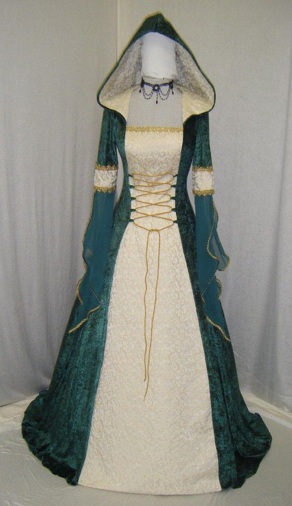 medieval handfasting renaissance Celtic hooded dress custom made  $260.00