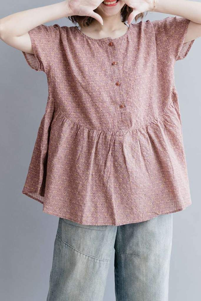 Women Summer Floral Cotton Linen Short T Shirt S2342