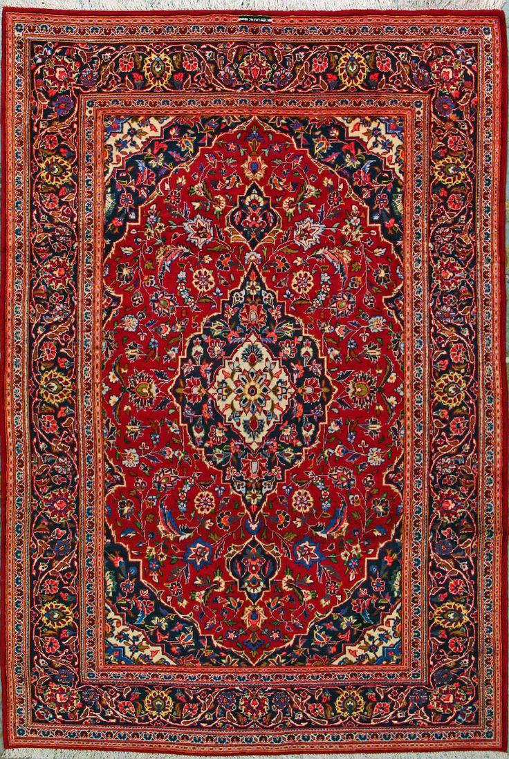 "Buy Kashan Persian Rug 6' 5 "" x 9' 6"", Authentic Kashan"