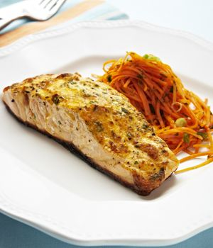 Crispy Broiled Salmon with Herbed Mayo Crust and Quick Carrot Slaw