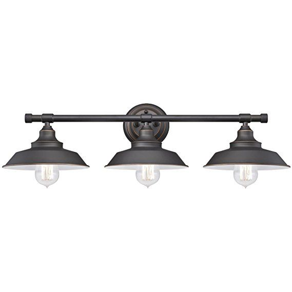 Westinghouse 6343400 Iron Hill Three Light Indoor Wall Fixture Oil Rubbed Bronze Fini Farmhouse Vanity Lights Farmhouse Bathroom Light Bathroom Light Fixtures