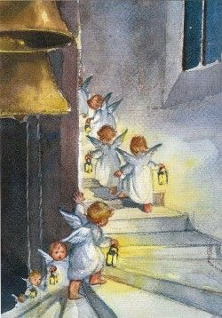 elsa beskow. if i have a wall with lots of little pieces of art, it would be nice to have angels somewhere. not renaissance or religious ones. these angels were always on our advent calendars when we were little -- my mom owned a children's book store and she LOVED elsa beskow.