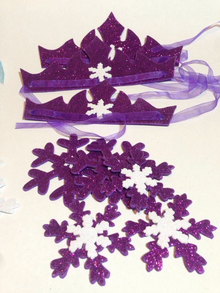 Frozen purple crowns and snow handmade