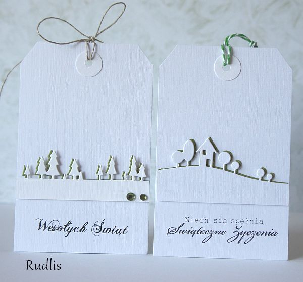 Modern Landscape and Pine Tree Border (white die cut offset slightly over green die cut): Tags E T C, Cute Ideas, Memories Box, Gift Tags, Placecards Tags, Modern Landscape, Christmas Tags, Gifts Tags, Cards Gifts Crafts