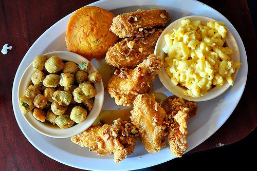 Some good ol' southern soul food. Fried okra, fried chicken, macaroni and cheese, and cornbread.