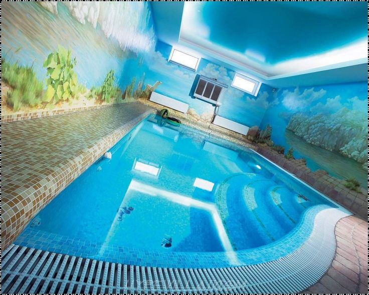 Swimming Pool Modern Indoor Pool Feats Blue Led Light Mixed With Wall  Paintings Also Ceramic Deck
