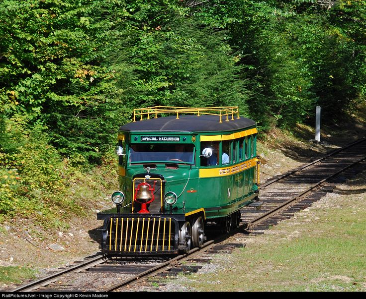 This rare 1929 Railbus was originally built as a city bus by the REO Motorcar Company and converted for rail-borne operations in 1930 at the shops of the Sandy River and Rangeley Lakes Railroad in Maine. She served several owners over the years before being acquired and restored by Clark's Trading Post for use on the White Mountain Central Railroad. She was trotted out recently for railfans to enjoy as the WMCRR celebrated 50 years of tourist operations.