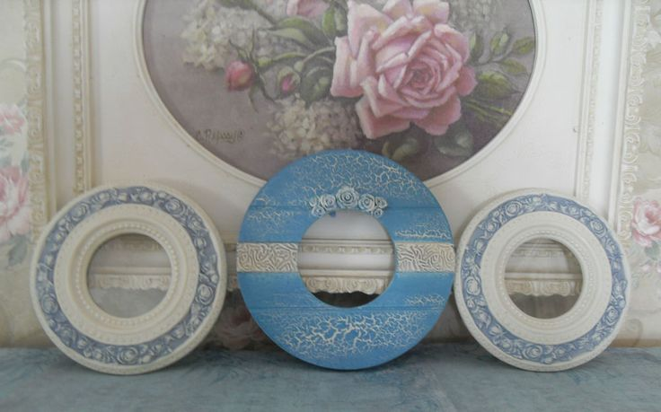 3 BLUE PICTURE FRAME ROSES ~Shabby~Cottage~Victorian~Vintage Style             #Cottage