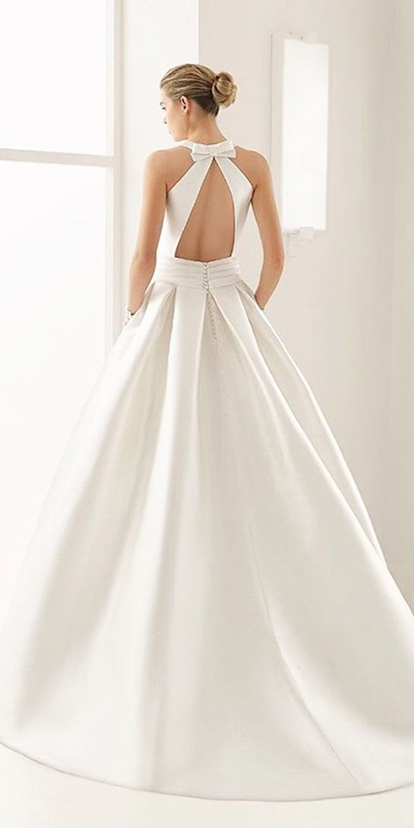 simple bow low back a line wedding dresses rosa clara bridal