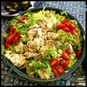 Grilled potato salad with bacon, lettuce and tomato. I'd also added ...
