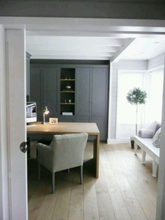 dark blue/grey with pale wood and flannel grey - home office - Stijlvol