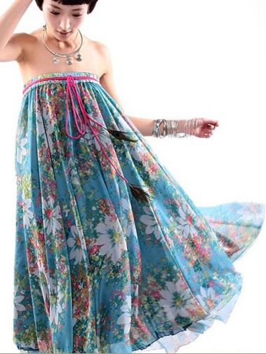 #Wholesale flower printed bilayer long chiffon skirts with peacock  Only$18.80