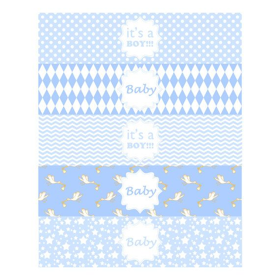 Bebé niño agua botella etiqueta - Baby Boy ducha imprimible para fiesta temática de cigüeña - descarga inmediata BOTTLE00013