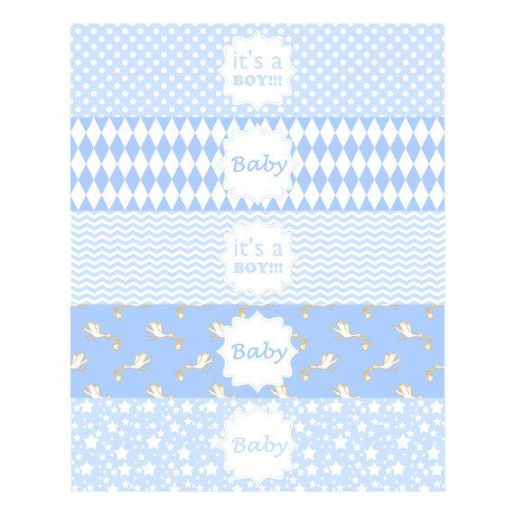 Bebé niño agua botella etiqueta  Baby Boy por HuggableMeDesigns