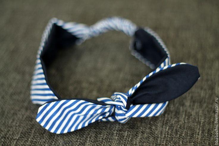 Купить Повязка на голову (солоха) - синий, в полоску, диагональ, солоха, повязка на голову, повязка для волос