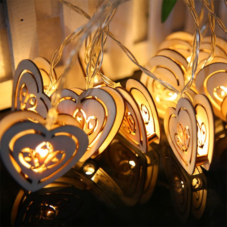 Wedding heart-shaped wooden decorative lights led lantern string flashing battery light outdoor festival 2016 fashion new B1