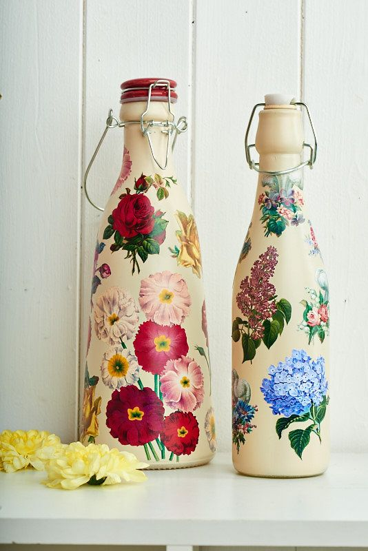 Make gorgeous home accessories by decoupaging old milk bottles (PaperCrafter issue 82)