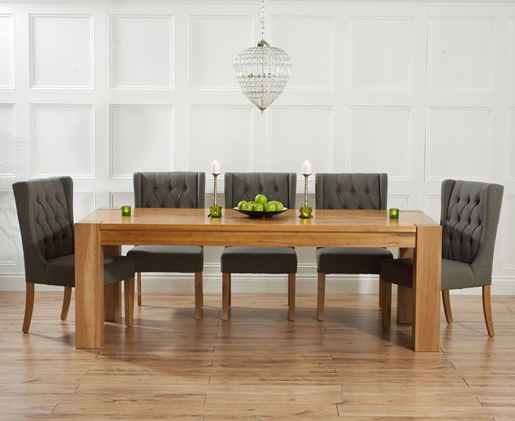 Provence Oak Furniture Large Dining Table & 6 Grey Throne Dining Chairs