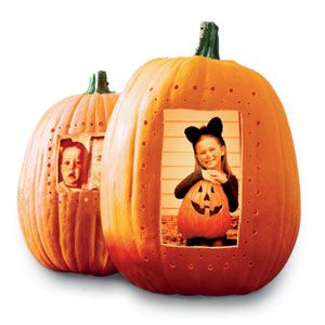 Halloween Pumpkin Photo Frame Craft ~ turn any pumpkin into a frame for family photos: Print favorites onto acetate sheets (at office supply stores); trim to size. Clean out the pumpkin, cut an opening, punch decorative holes; tack image from the inside and add an electric candle... cute & fun idea!