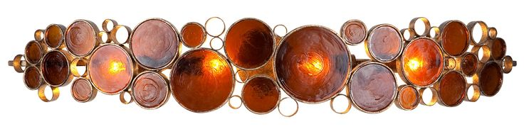 """Varaluz 165B04 Fascination 4 Light Single Light Source 45"""" Wide Recycled Materia Kolorado With Recycled Brown Glass Shade Indoor Lighting Bathroom"""