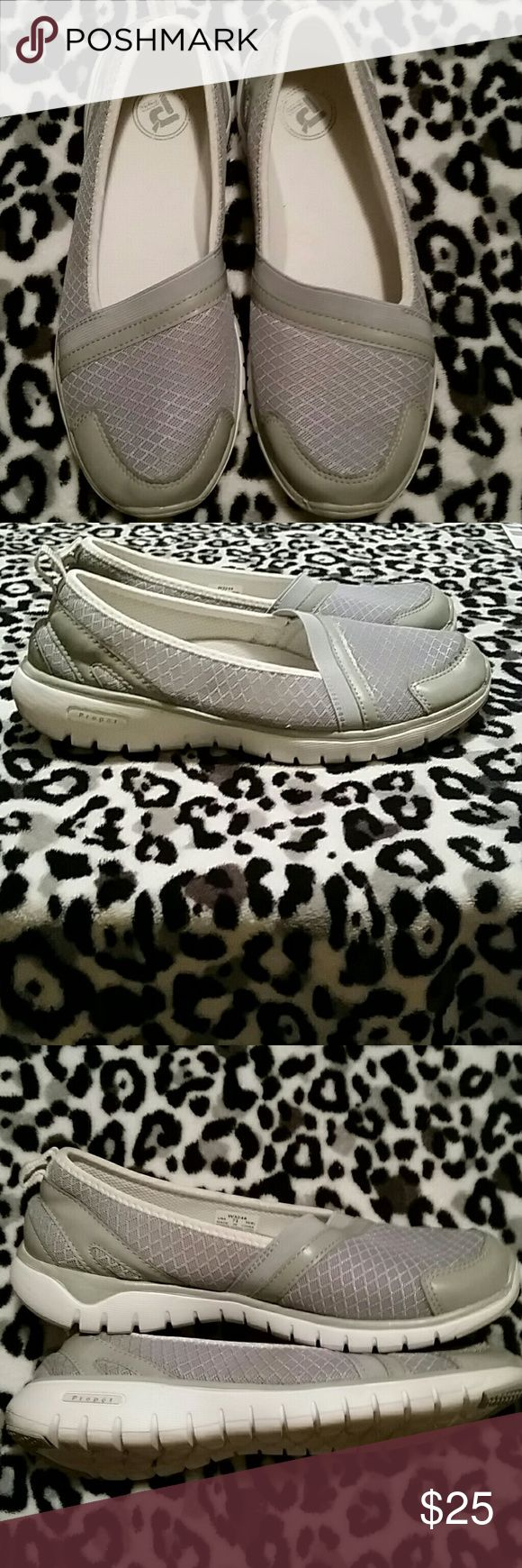 Gray slip on casual shoes Gray Propet casual shoes. New condition. Propet Shoes Flats & Loafers