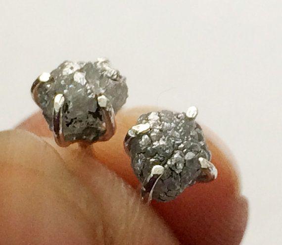 Diamond Studs Grey Rough Diamond Studs Uncut by gemsforjewels