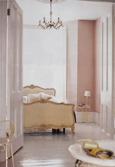 parisian apartment,I love the chandelier, would like to change the pink paint for soft, cool, grey
