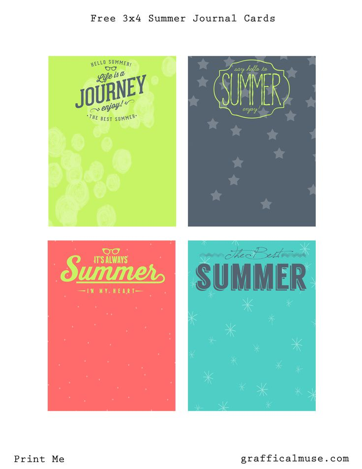 Free 3x4 Summer Journal Cards Printable from The Graffical Muse