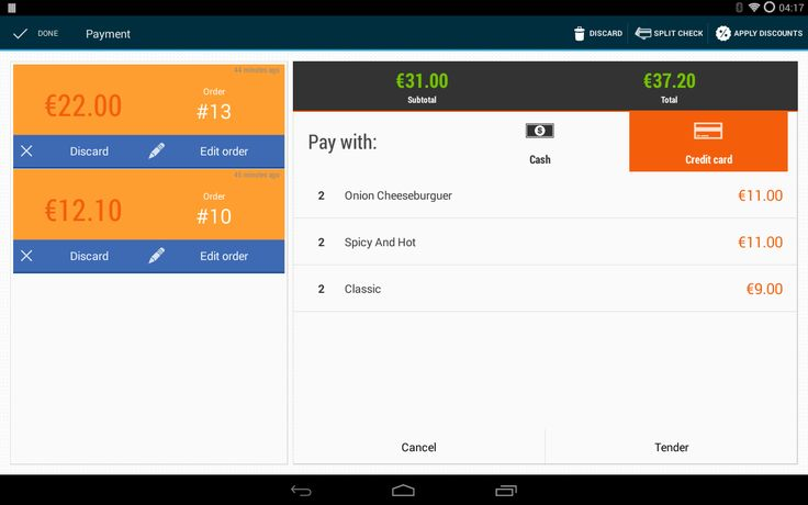 Payment point of sale in tablet 10''