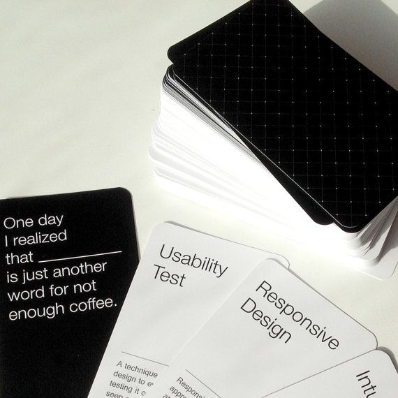 Cards agains humanity i UX udgave! Whaaat det er nice :)  UX cards against development is a card game based on the popular Cards Against Humanity format, to promote and spread the understanding of UX practice