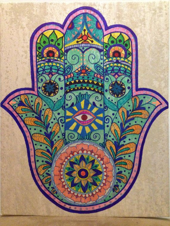 Hand of Miriam Illustration-one of a kind! Hand-drawn and painted by Shannon Major. Delivered fast!