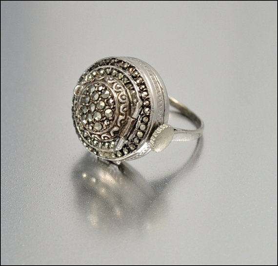 Sterling Silver Art Deco Bucherer Watch Ring Marcasite