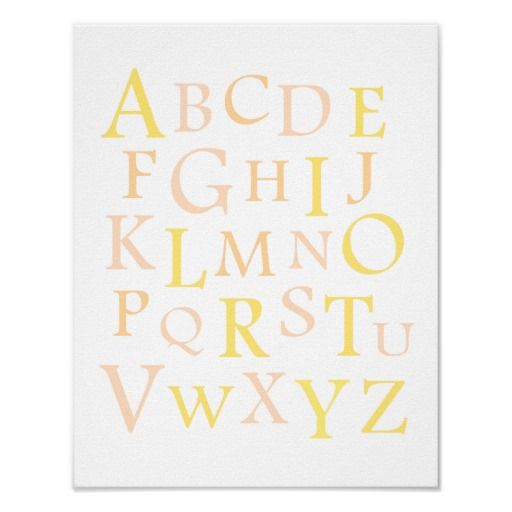 Peach  Yellow ABC Nursery Typography Print